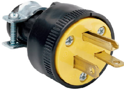 Pass & Seymour Heavy Duty Rubber Construction Plug, 20A, 250V, Black