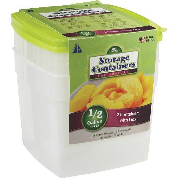 Arrow Plastic 00045 Stor-Keeper Freezer & Storage Container, 1/2 Gallon, 2-Pack