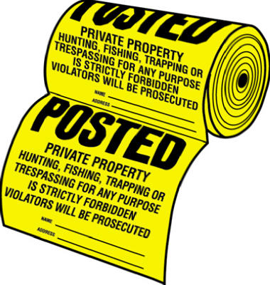 "Hy-Ko TSR-100 Tyvek (Legal) Posted Private Property Sign, 12"" x 12"", 100-Count"
