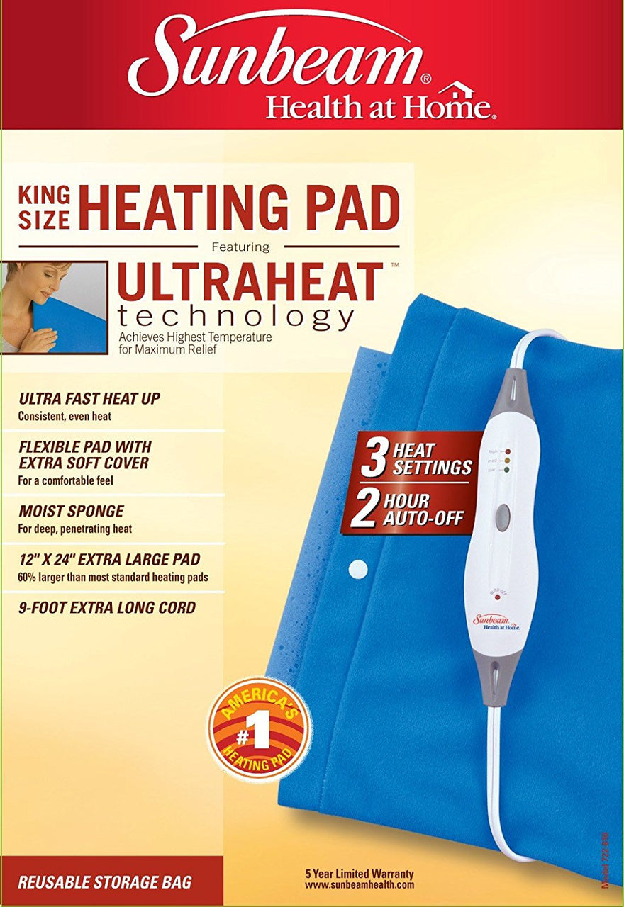 "Sunbeam 722-810 King Size Heating Pad w/UltraHeat™ Technology, Blue, 12"" x 24"""