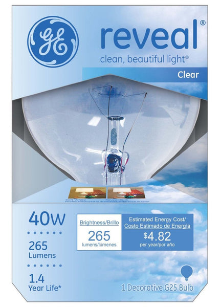 GE Lighting 48694 Reveal® Incandescent G25 Vanity Globe Bulb, Clear, 40W