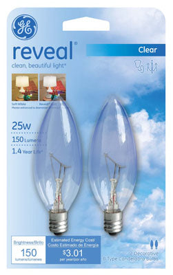 GE Lighting 48700 Reveal® B10 Blunt Tip with Candelabra Base Lamp, Clear, 25W, 2-Pack