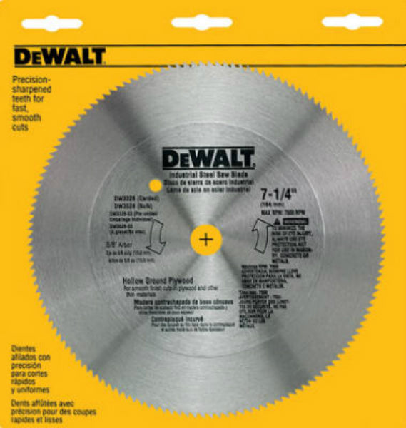 DeWalt® DW3526 Steel Hollow Ground Plywood Blade, 140 Teeth, 7-1/4""