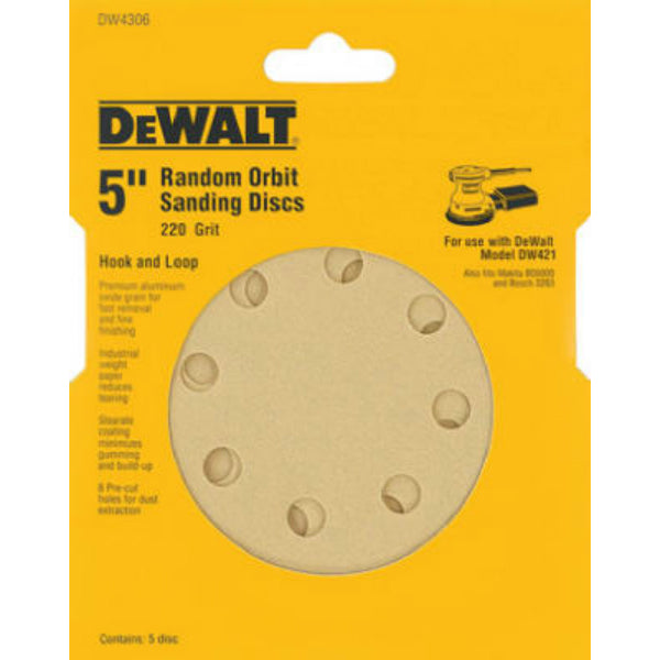 "DeWalt® DW4306 8-Hole Hook & Loop Random Orbit Sandpaper, 5"", 220 Grit, 5-Pack"
