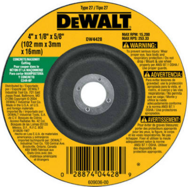"DeWalt® DW4428 Masonry Blade Depressed Center Wheel, 4"" x 1/8"" x 5/8"" Arbor"