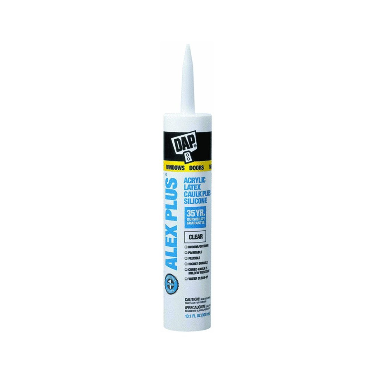 Dap® 18156 Alex Plus® Acrylic Latex Caulk Plus Silicone, 10.1 Oz, Clear