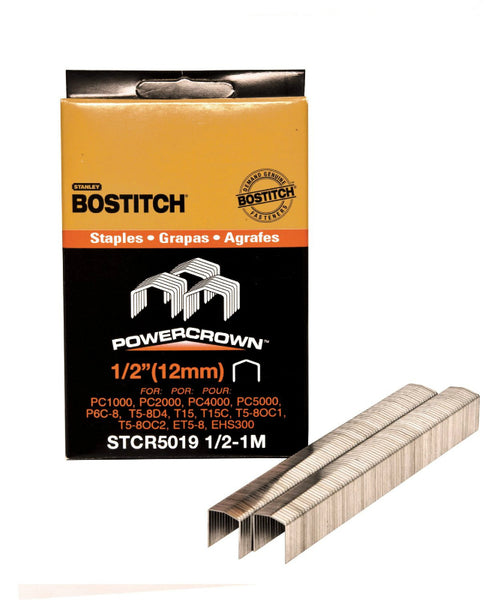 "Bostitch® STCR50191/2-1M Heavy-Duty PowerCrown™ Staples, 1/2"", 1000-Pack"