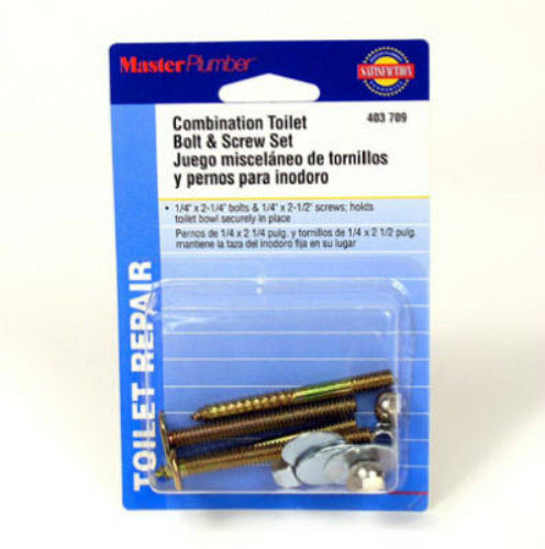 Master Plumber 403709 Combination Toilet Bolt & Screw Set, Brass Plated
