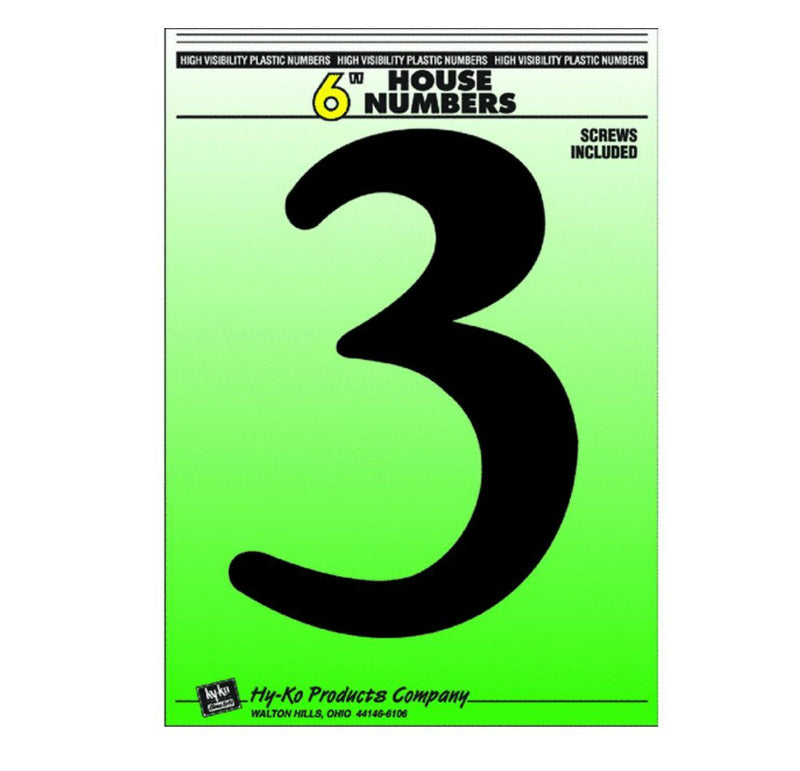 "Hy-Ko 30203 Plastic House Number 3 Sign with Screws, 6"", Black"