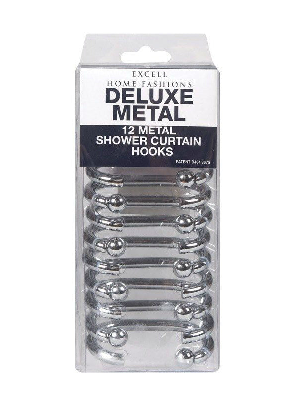 "Ex-Cell 1ME-061O0-0325-040 Deluxe Shower Curtain ""G"" Hooks, Silver, 12-Pack"