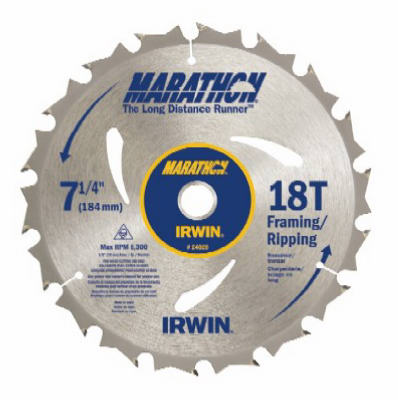 "Irwin Tools 24028 Carbide Tipped Marathon® Circular Saw Blade, 7-1/4"", 18T"