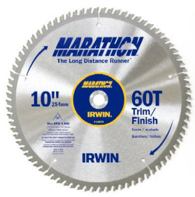 "Irwin Tools 14074 Carbide Tipped Marathon® Circular Saw Blade, 10"", 60T"