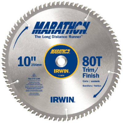 "Irwin Tools 14076 Carbide Tipped Marathon® Circular Saw Blade, 10"", 80T"