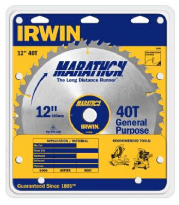 "Irwin Tools 14080 Carbide Tipped Marathon® Circular Saw Blade, 12"", 40T"