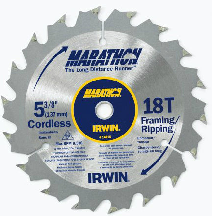 "Irwin Tools 14015 Marathon® Cordless Circular Saw Blade, 5-3/8"", 18 Teeth"
