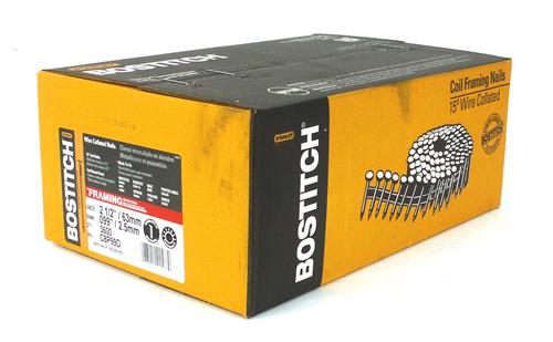 "Bostitch® C8P99D Coil Framing Nails, 2-1/2"" x 0.099, Smooth Shank, 3600-Pack"