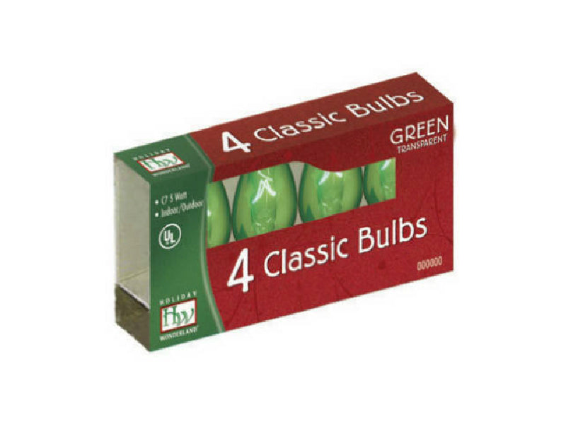 Holiday Wonderland® 1075G-88 Xmas C7 Transparent Replacement Bulbs, Green, 4-Pk
