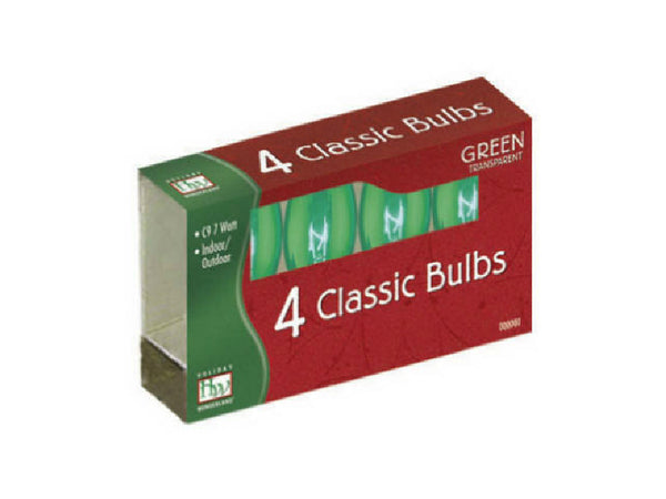 Holiday Wonderland® 1095G-88 Xmas C9 Transparent Replacement Bulbs, Green, 4-Pk