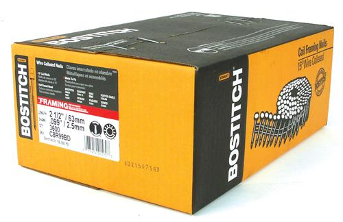 "Bostitch® C8R99BD Ring Shank Coil Framing Nails, 2-1/2"" x 0.099"", 3600-Count"