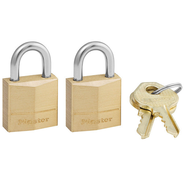 "Master Lock 120-T Solid Brass 3-Pin Padlock, 3/4"", 2-Pack"