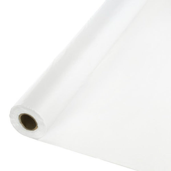 "Primesource® 76000075 Embossed Plastic Table Cover Roll, White, 40"" x 300'"