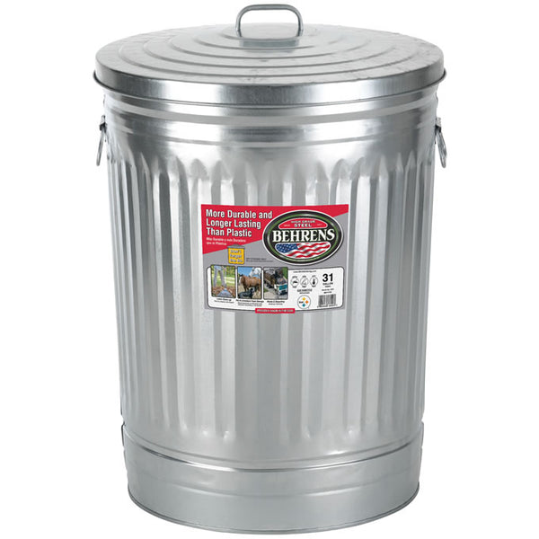 Behrens 1270 Galvanized Steel Trash Can w/ Large Handles & Cover, 30-Gallon