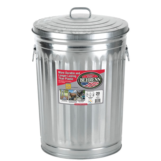 Behrens 1211 Galvanized Steel Trash Can w/ Large Handles & Cover, 20-Gallon