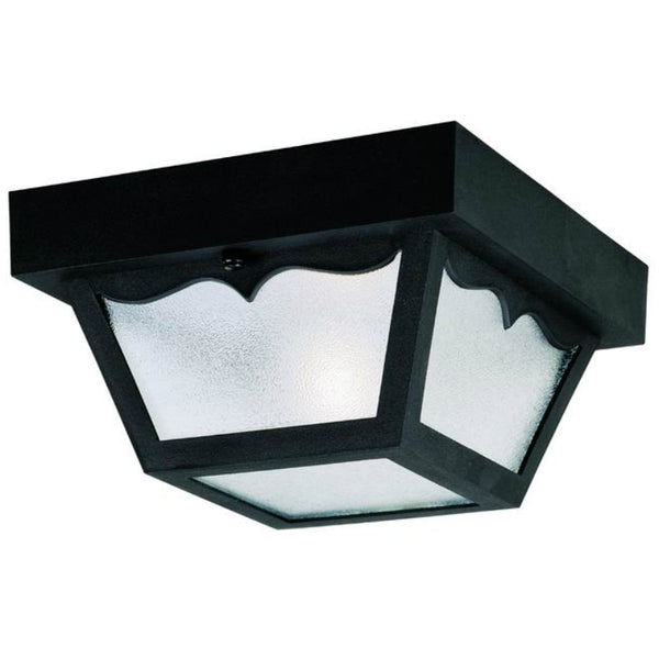 Westinghouse 66822 One-Light Flush-Mount Outdoor Fixture w/ Glass Panel, Black