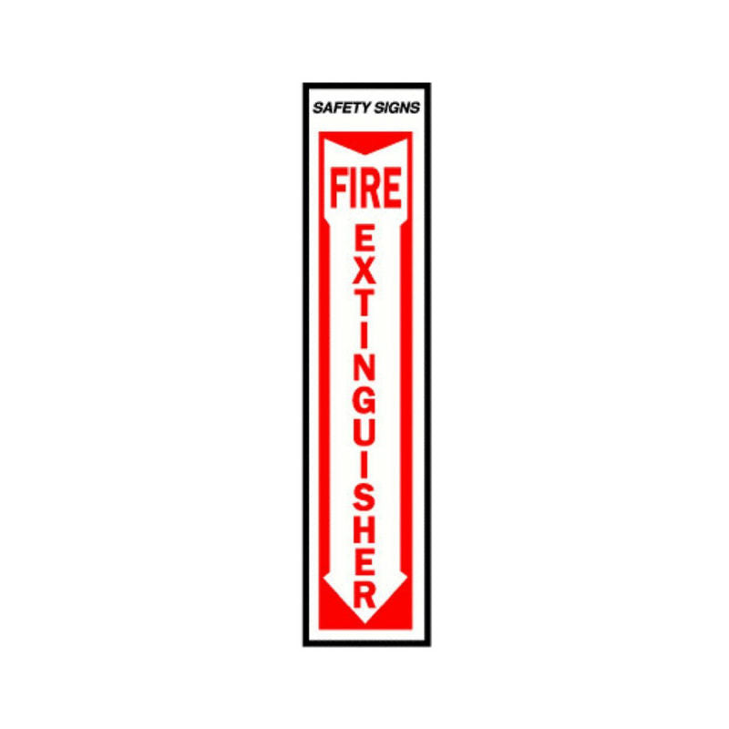 "Hy-Ko FE-1 Glow In The Dark Fire Extinguisher Safety Sign, 4"" x 18"", Arrow Down"