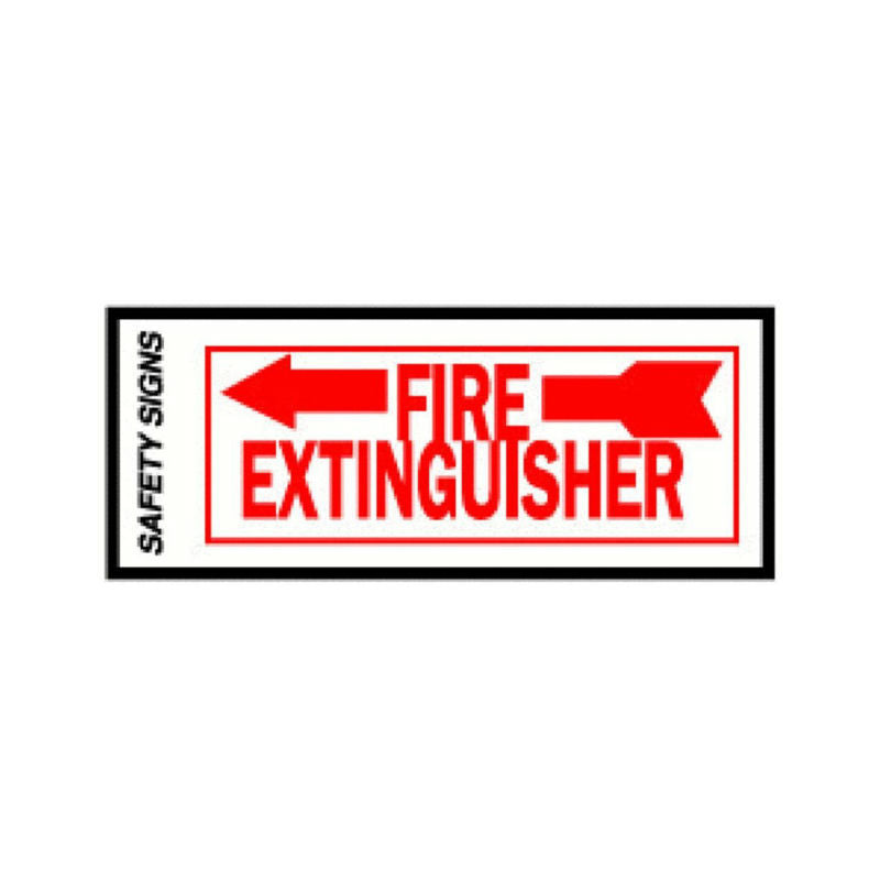 "Hy-Ko FE-2L Glow In The Dark Fire Extinguisher Safety Sign, 4"" x 10"", Left Arrow"