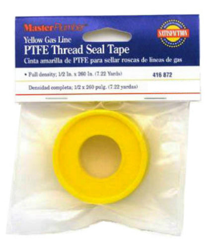 "Master Plumber 017067 Gas Line Pipe Thread Seal Tape, 1/2"" x 260"", Yellow"