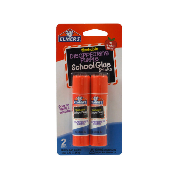 Elmer's E522 Disappearing Purple Washable School Glue Stick, 0.42 Oz, 2-Pack