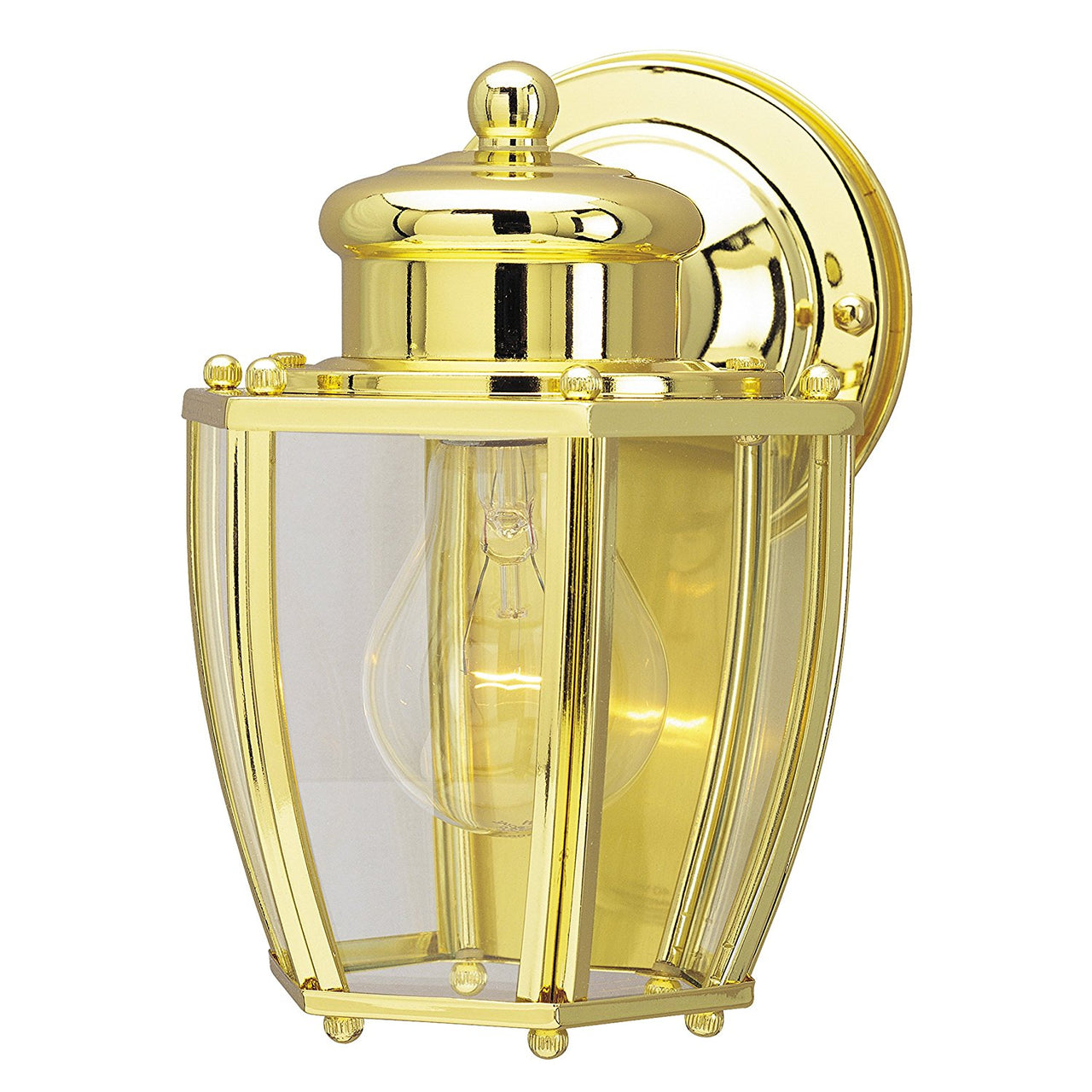 Westinghouse 67963 1-Light Exterior Wall Lantern w/Glass Panels, Polished Brass