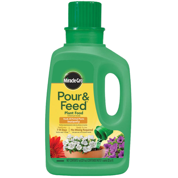 Miracle-Gro® 1006002 Pour & Feed® Liquid Plant Food, 02-0.02-0.02, 1 Qt