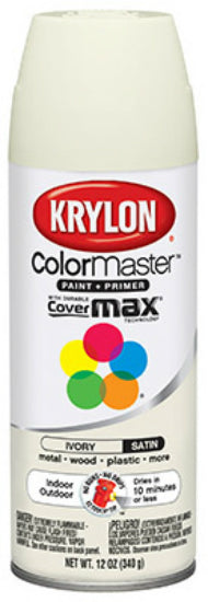 Krylon® K05351002 ColorMaster™ Spray Enamel Paint & Primer, 12 Oz, Satin Ivory