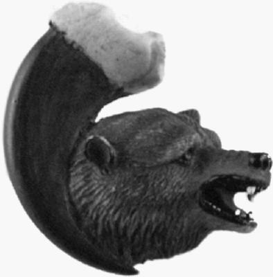 Bear On Claw Left Cabinet Knob Grizzly