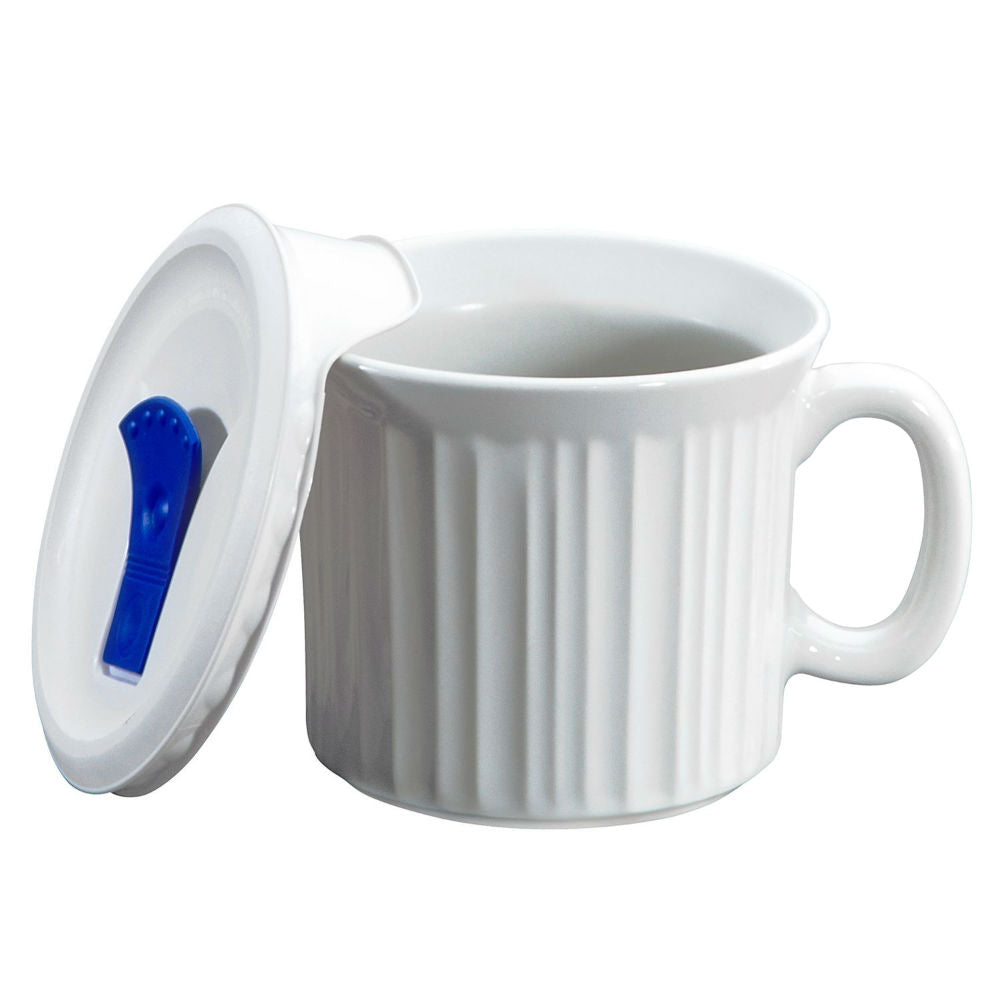 Corningware® 1035985 Pop-Ins® Mug with Vented Lid, French White, 20 Oz
