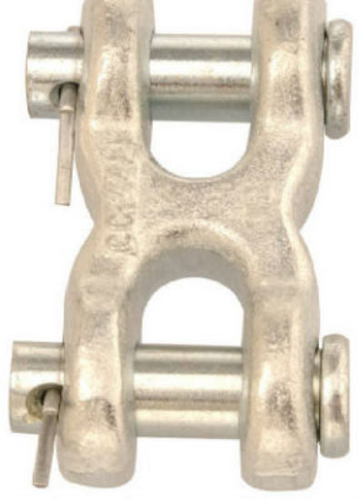 "Campbell® T5423301 Double Clevis Link, 3/8"", Zinc Plated, Forged Steel"