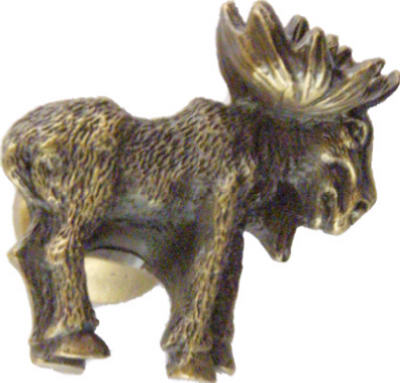 Left Moose Cabinet Knob Antique Brass