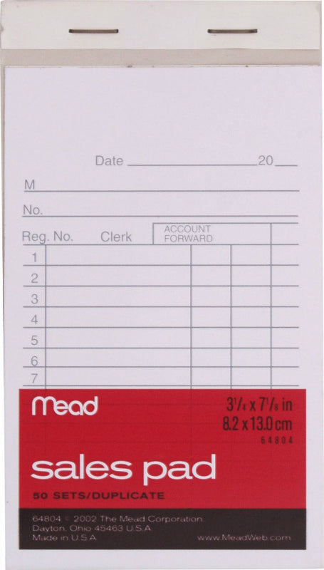 "Mead® 64804 Sales Pad with Duplicates, 3-1/4"" x 5-7/8"", 50-Count"