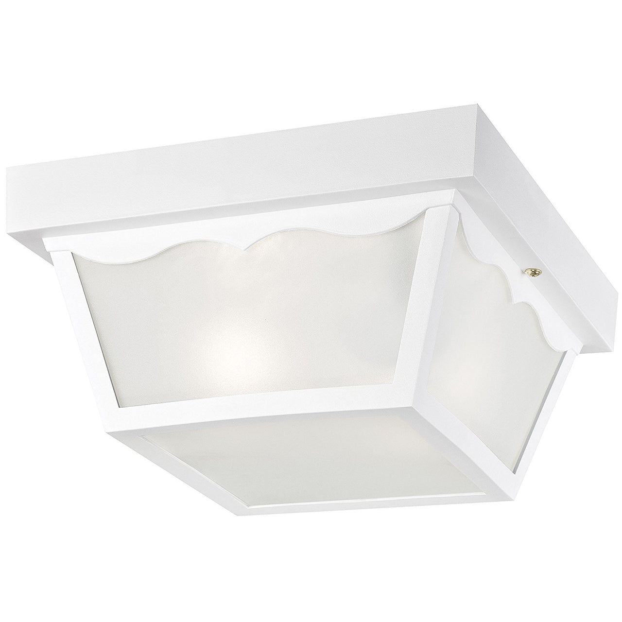 Westinghouse 66976 Two-Light Flush-Mount Outdoor Fixture w/ Glass Panel, White