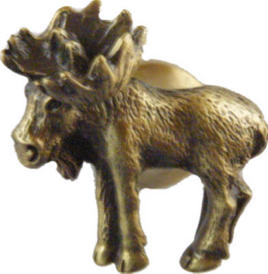 Right Realistic Moose Cabinet Knob Antique Brass