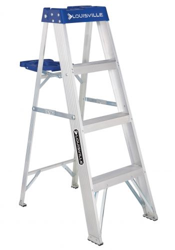 Louisville Ladder AS2104 Aluminum Standard Type I Step Ladder, 4'