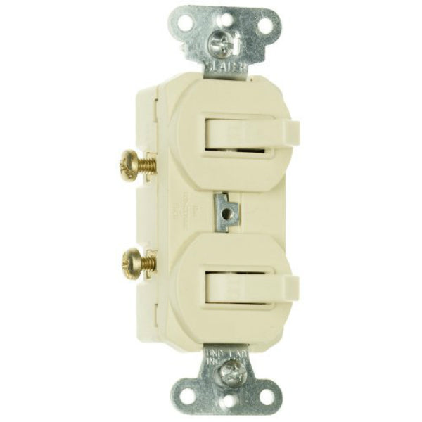 Pass & Seymour 690IGCC6 Grounding 2-Single Pole Switch, Ivory, 15A, 120/277V