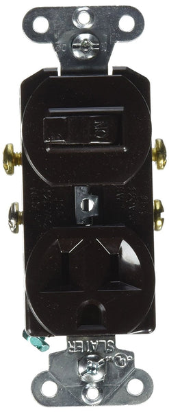 Pass & Seymour 691 Combination Single-Pole Switch & Single Receptacle, Brown