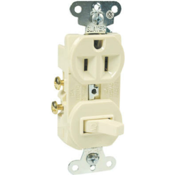 Pass & Seymour 691ICC6 Combination Switch & Outlet, 15A, 125V, Ivory