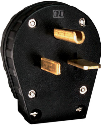 Pass & Seymour Heavy Duty Dual Power Angle Plug, 250V, Black