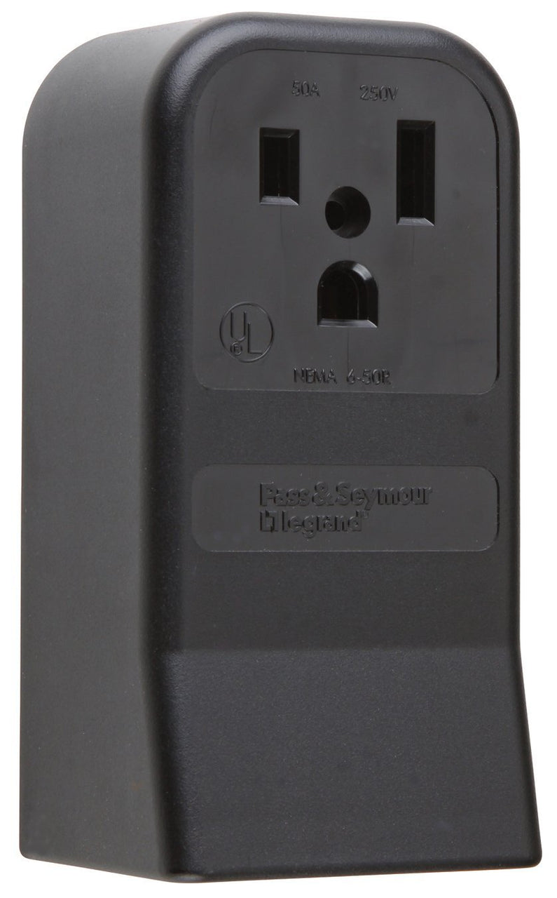 Pass & Seymour 3852CC6 Surface Mount Power Outlet, 2-Pole, 3-Wire, Black