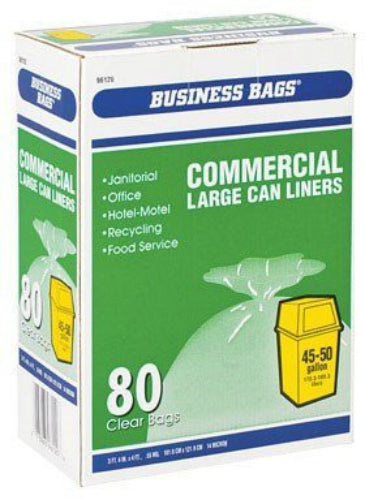 Berry Plastics 618642 Business Bags Commercial Can Liners, 45 Gal, Clear, 80-Ct