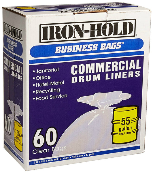 Berry Plastics 618644 Institutional Drum Liner, 55 Gallon, Clear, 60-Count
